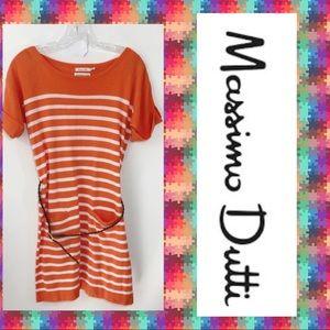 Massimo Dutti Orange/ White Striped Cotton Dress S